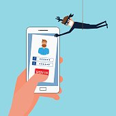 Thief Hacker stealing sensitive data, personal information as passwords from a smartphone useful for anti phishing and internet viruses campaigns.Concept hacking internet social network. Cartoon Vector Illustration.