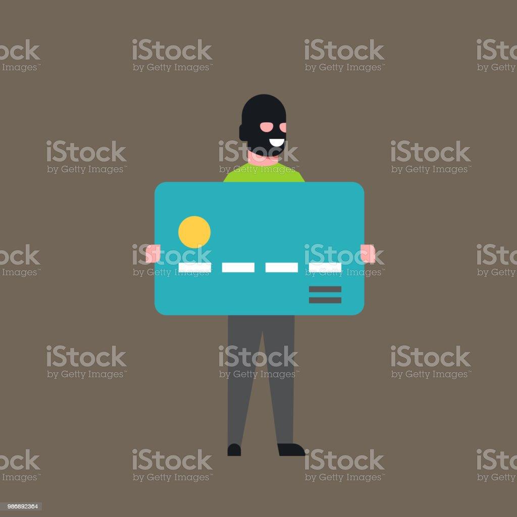 マスクの盗まれたお金を現金で泥棒ホールド銀行クレジット カード男アカウント ハッカー活動コンセプト ウイルス データ プライバシー フラット攻撃 ベクターアートイラスト