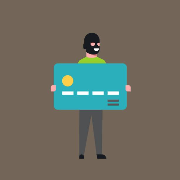 マスクの盗まれたお金を現金で泥棒ホールド銀行クレジット カード男アカウント ハッカー活動コンセプト ウイルス データ プライバシー フラット攻撃 - id盗難点のイラスト素材/クリップアート素材/マンガ素材/アイコン素材
