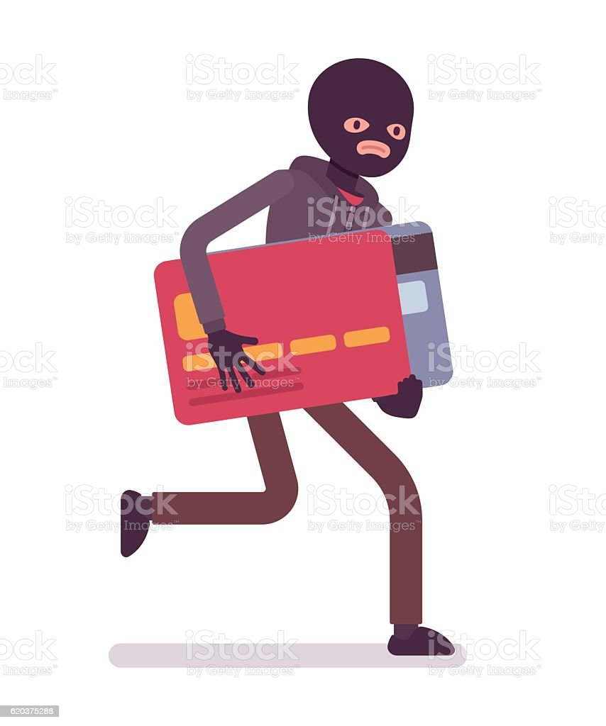 Thief in a black mask stole credit card and is vector art illustration