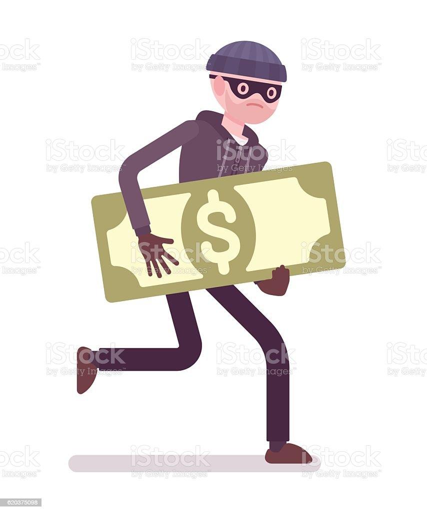 Thief in a black mask stole money and is running thief in a black mask stole money and is running - stockowe grafiki wektorowe i więcej obrazów areszt royalty-free
