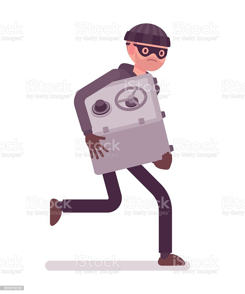 Thief in a black mask stole safe and is running thief in a black mask stole safe and is running - stockowe grafiki wektorowe i więcej obrazów bank royalty-free