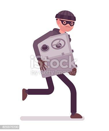 Thief In A Black Mask Stole Safe And Is Running - Stockowe grafiki wektorowe i więcej obrazów Bank 620375200