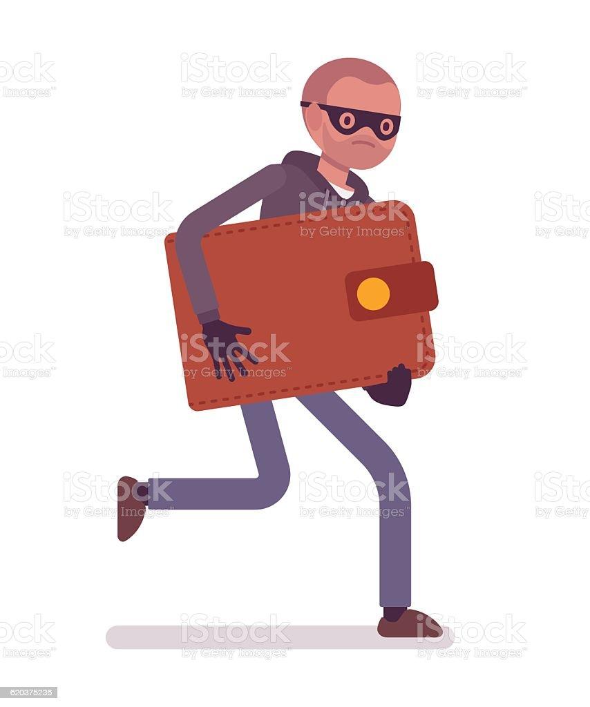 Thief in a black mask stole wallet and is running thief in a black mask stole wallet and is running - arte vetorial de stock e mais imagens de acidente - conceito royalty-free