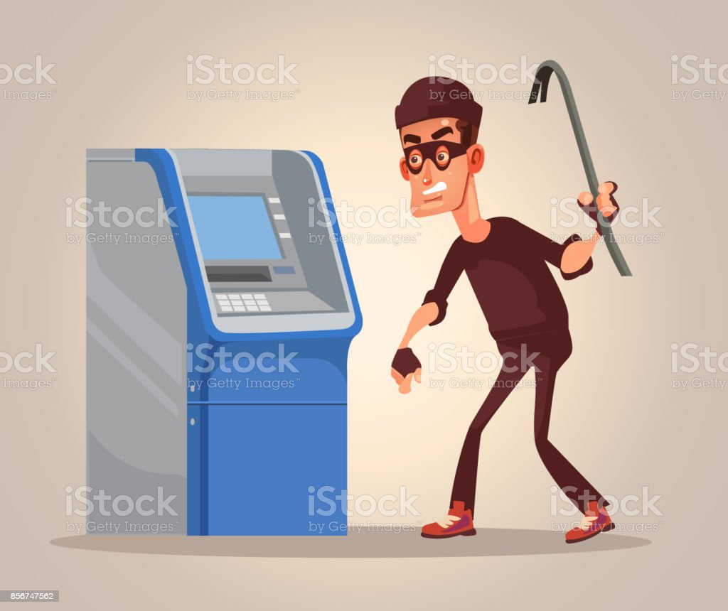 Thief man character steals money from ATM vector art illustration