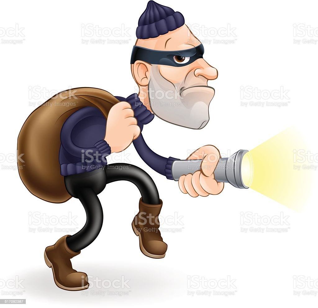 Thief or burglar vector art illustration
