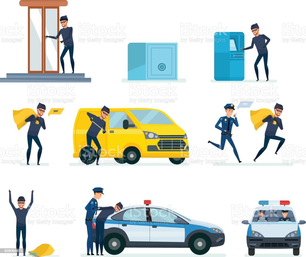Thief penetrating bank, stealing money, thief hacking car, arrest criminal vector art illustration