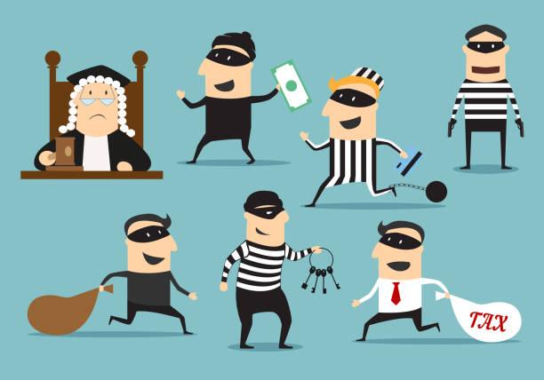 dieb räuber und richter, vektor verbrechen oder strafe - geldstrafe stock-grafiken, -clipart, -cartoons und -symbole