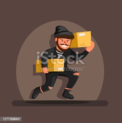istock Thief running carrying box package in spotlight, online shop package theft prevention symbol character concept in cartoon illustration vector 1277336341
