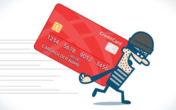 ilustraciones, imágenes clip art, dibujos animados e iconos de stock de ladrón roba tarjetas de crédito - robo de identidad