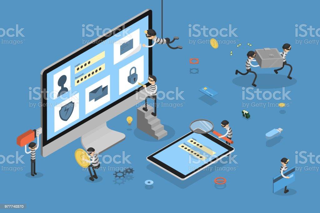 Thief stealing data. - Векторная графика Банк роялти-фри