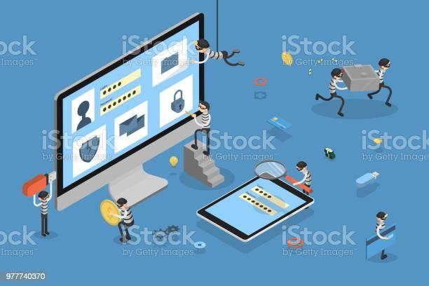 Thief Stealing Data — стоковая векторная графика и другие изображения на тему Банк
