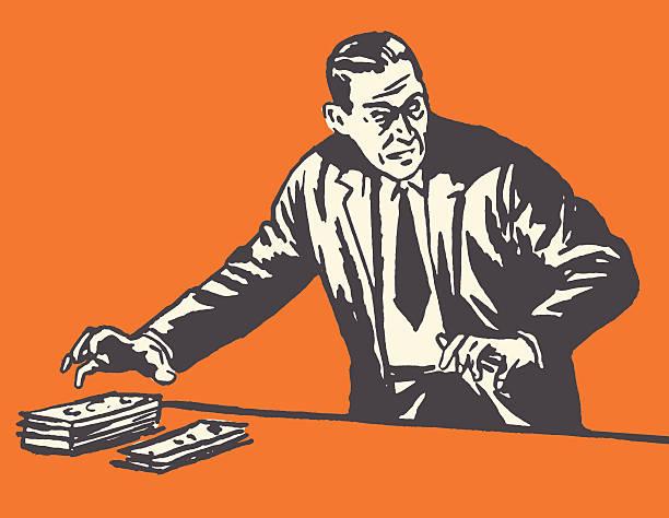 thief taking money - evil money stock illustrations, clip art, cartoons, & icons