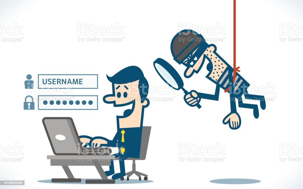 Burglar Alarm Cost >> Thief Trying To Hack Personal Information Stock Vector Art & More Images of Arrest 673354508 ...