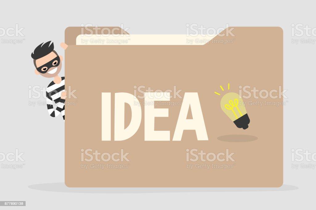 Design Stehlen dieb versucht eine idee aus einem großen papierordner zu stehlen