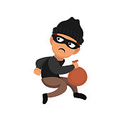 Thief when stealing mascot design illustration pose