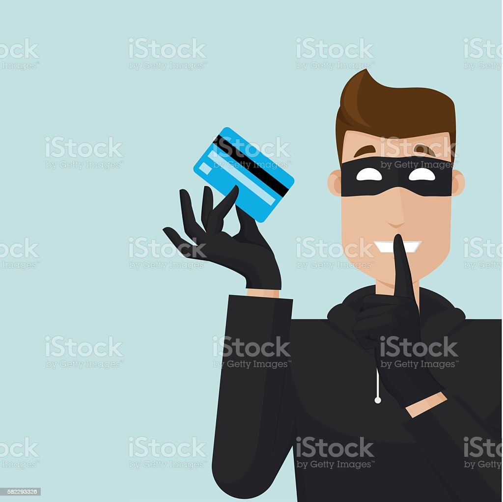 Thief with finger in front of mouth vector art illustration
