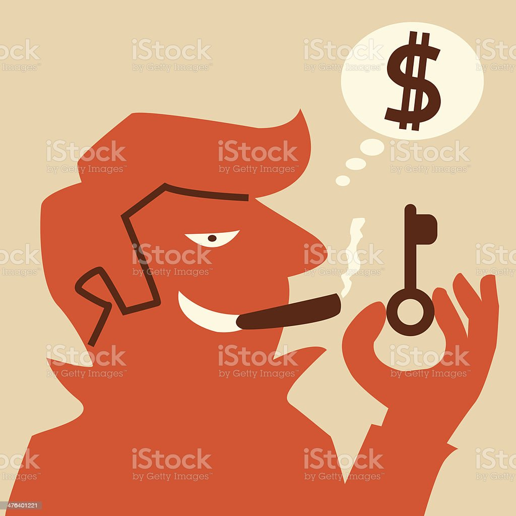 Thief with key royalty-free stock vector art