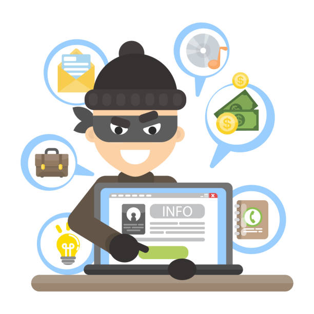 Thief with laptop. Thief with laptop trying to stela money. dishonesty stock illustrations