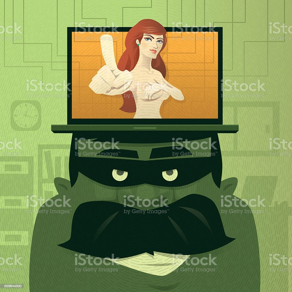 thief with naked girl vector art illustration