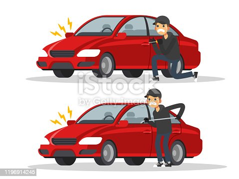 Thieves are stealing cars. Burglar alarm. Car thief concept. Vector illustration in a flat style.