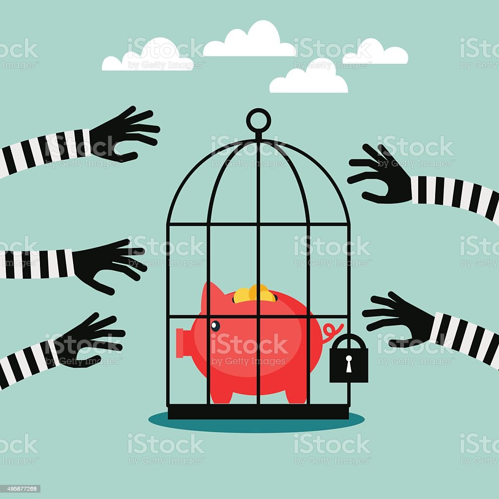 Thieves stealing money from piggy bank. Piggy bank protection concept vector art illustration