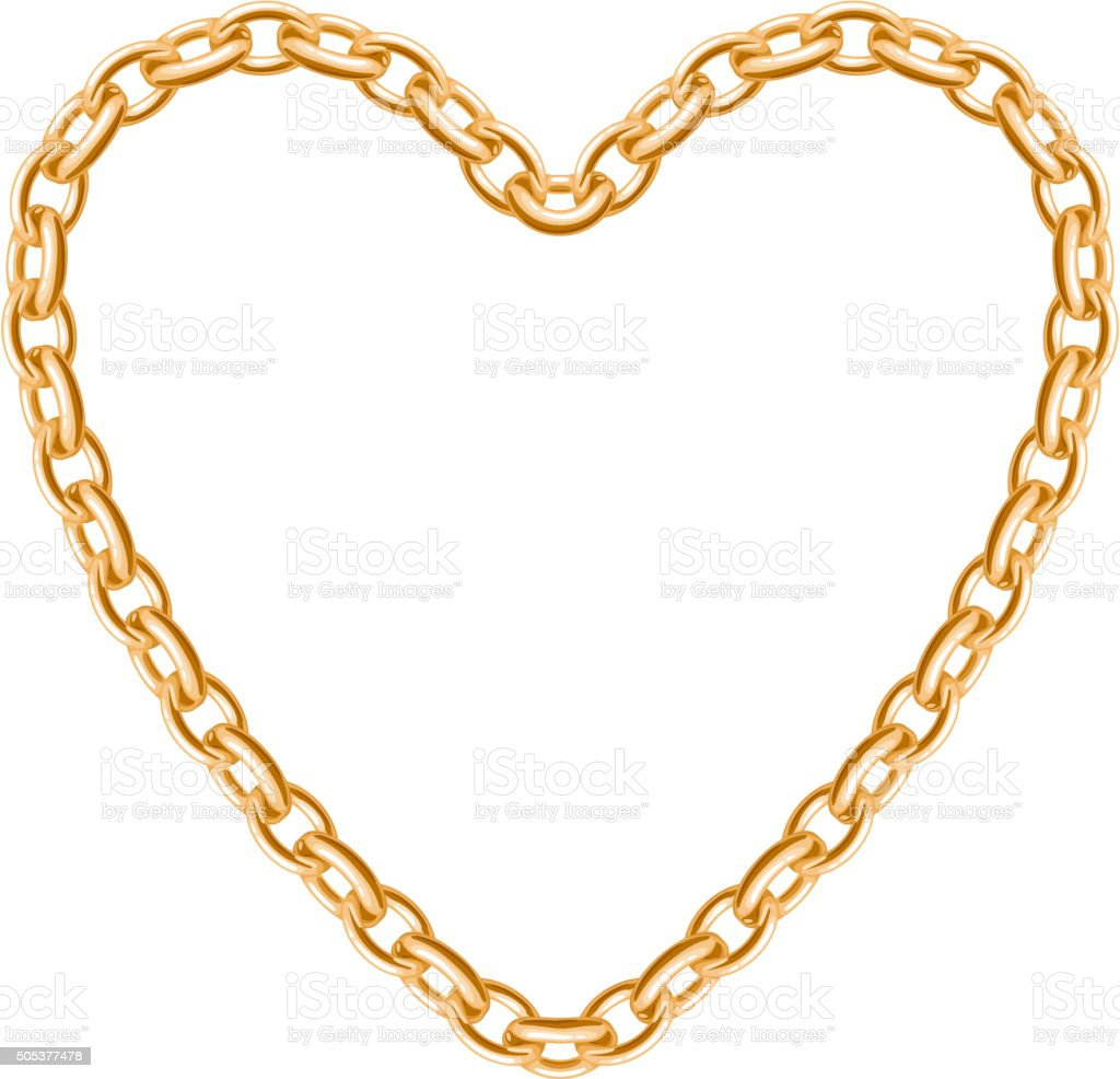 Thik golden chain - heart frame vector art illustration