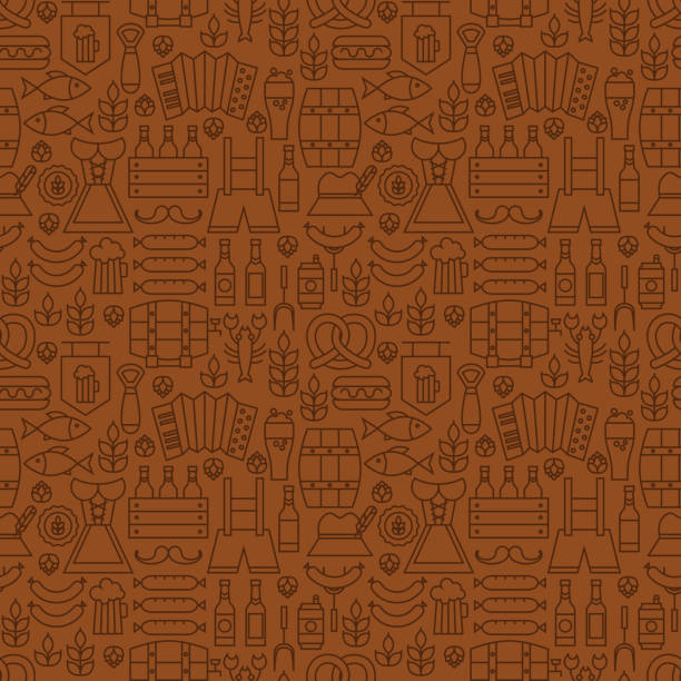 Thin Alcohol Beer Line Oktoberfest Seamless Brown Pattern vector art illustration