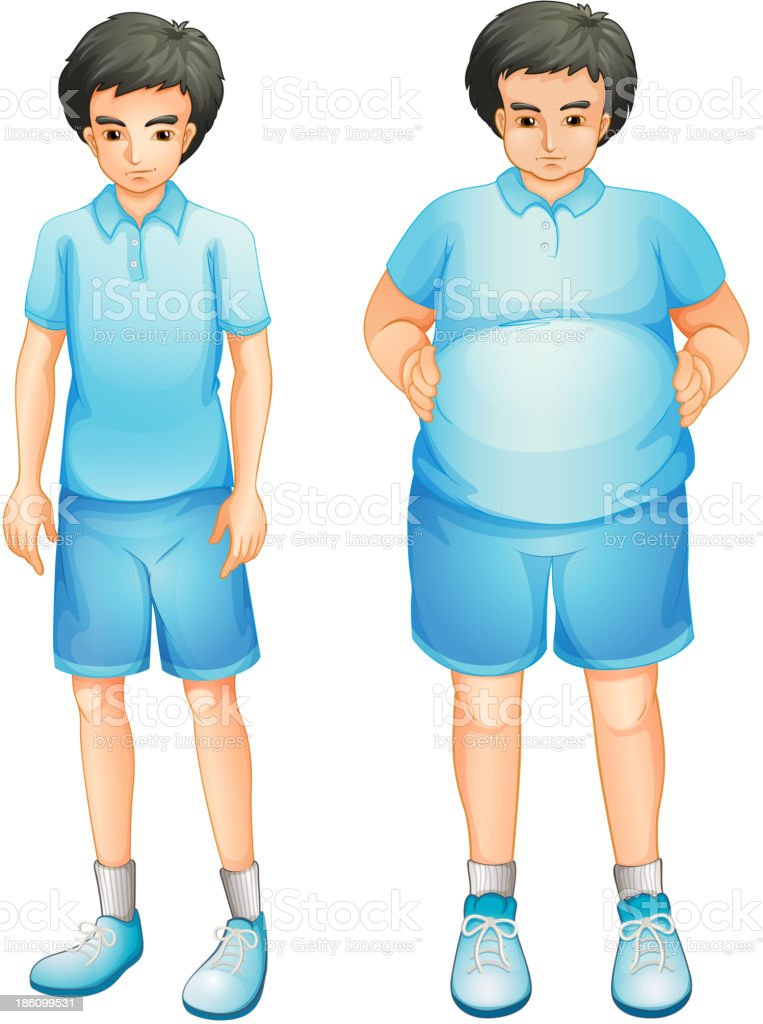 thin and a fat boy in blue gym uniform vector art illustration
