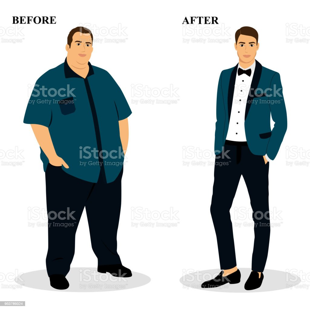 Thin and fat. Obesity. vector art illustration