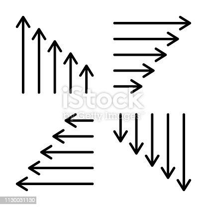 Thin arrow icons. Long & short arrow symbols. Vector illustration.