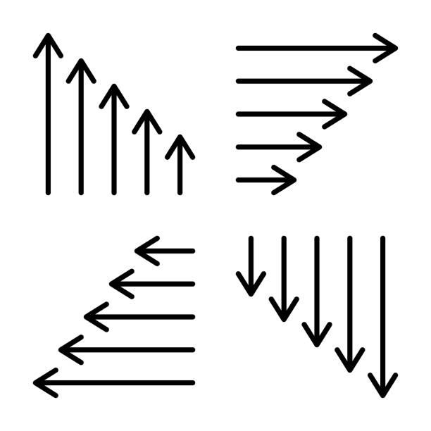 Thin arrow icons. Long & short arrow symbols. Vector illustration. Thin arrow icons. Long & short arrow symbols. Vector illustration. long stock illustrations