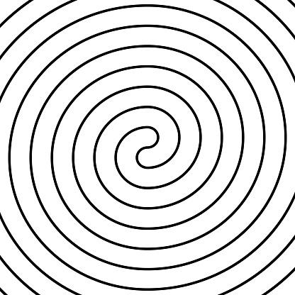 Thin black double spiral symbol. Simple flat vector design element