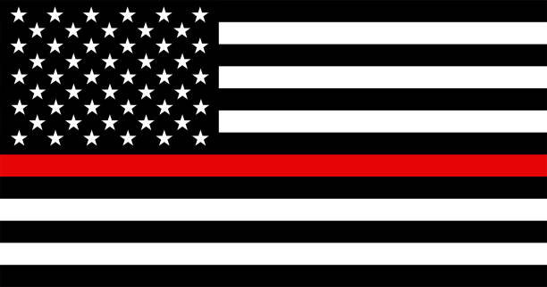 Thin Blue Line American Police Flag Thin Red Line American Firefighter Flag vector illustration fire station stock illustrations