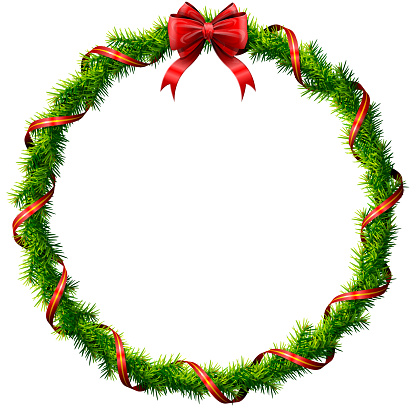 Thin christmas wreath with red bow and ribbon