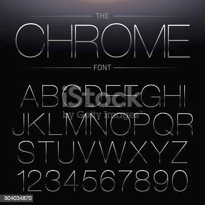 Thin Chrome Font. Vector Metallic Alphabet