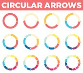 Thin circular arrows for infographics with 1 - 12 parts. Vector design element.
