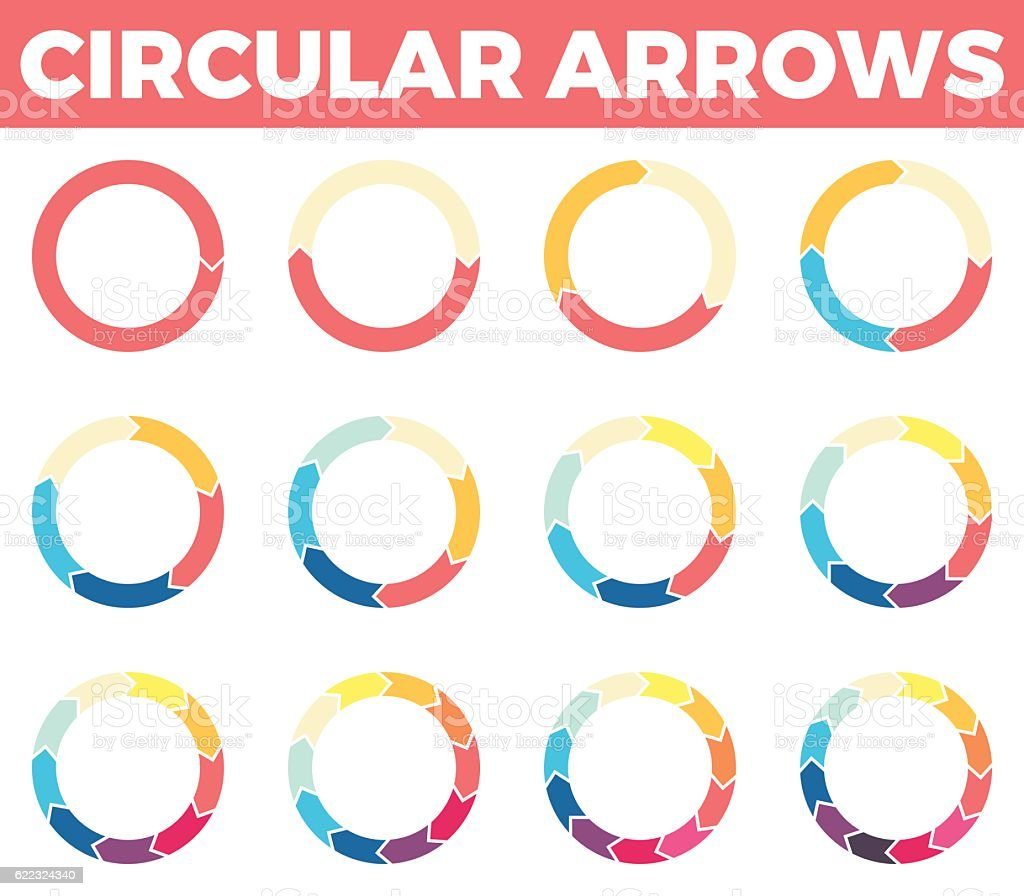 Thin circular arrows for infographics with 1 - 12 parts. vector art illustration