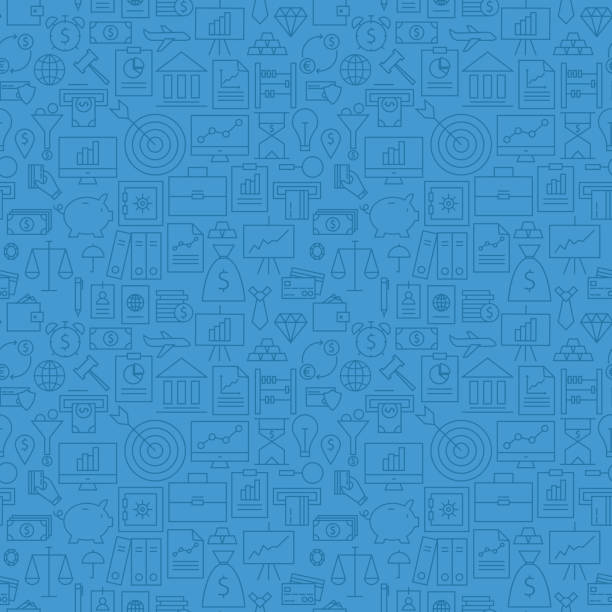 Thin Finance Line Money Banking Seamless Blue Pattern Thin Finance Line Money Banking Seamless Blue Pattern. Vector Business Design and Seamless Background in Trendy Modern Line Style. Thin Outline Art banking drawings stock illustrations