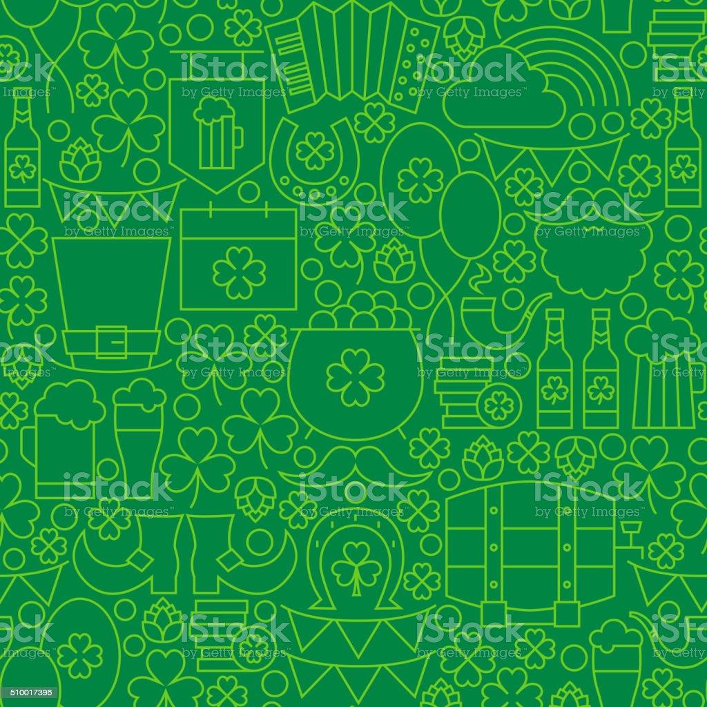 Thin Green Line Irish Saint Patrick Day Seamless Pattern vector art illustration