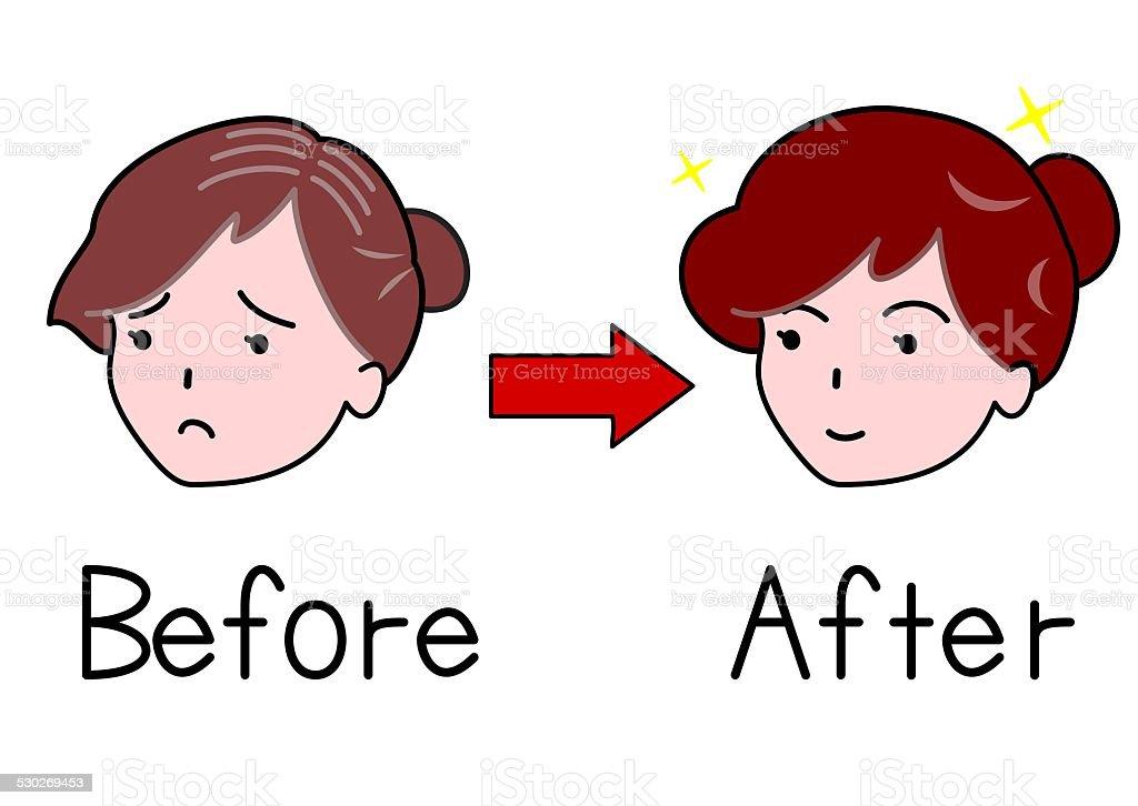 thin hair Woman and thick hair woman vector art illustration