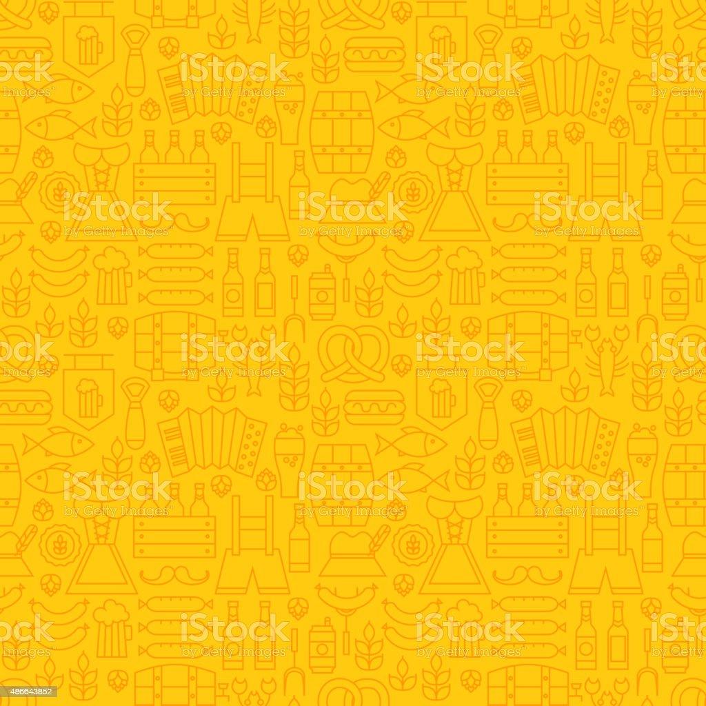 Thin Holiday Line Oktoberfest Yellow Seamless Pattern vector art illustration