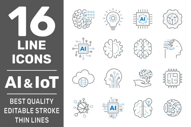 Thin icon set with machine learning, smart robotic, cloud computing network, digital AI and IoT technology. Editable Stroke. EPS 10 vector art illustration