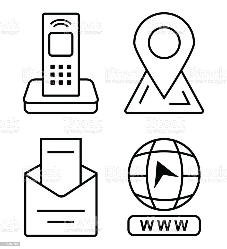 Icones Minces Pour Carte De Visite Telephone Bureau Marqueur Sur La