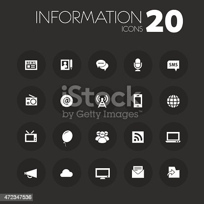 istock Thin information icons on dark gray 472347536