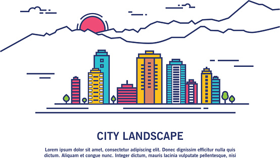 Thin line abstract colorful vector city illustration