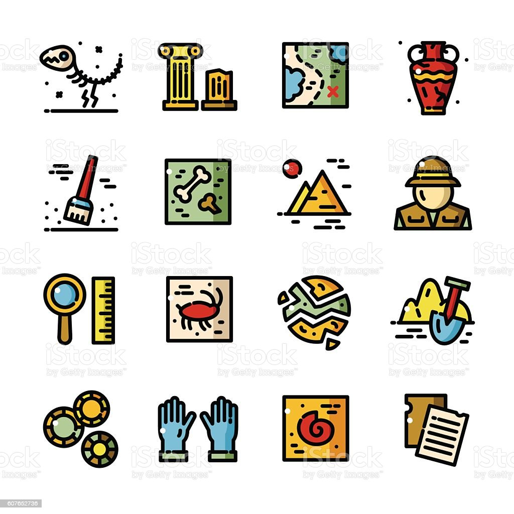 Thin line Archeology vector icons set vector art illustration
