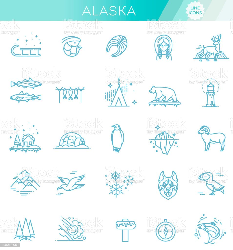 Thin line Arctic icons set, North Pole outline logos vector illustration vector art illustration