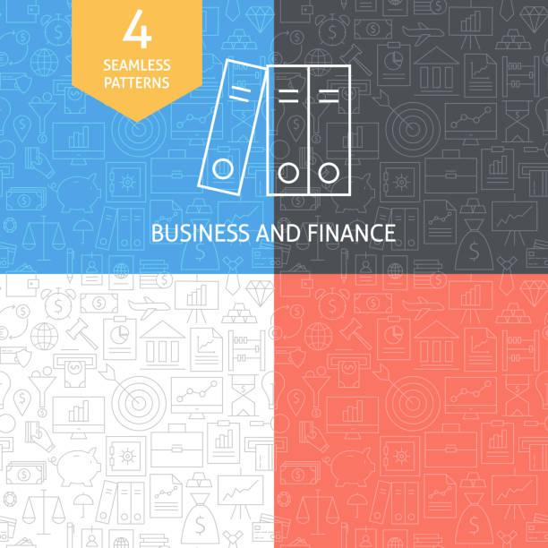 Thin Line Art Finance Business Banking Patterns Set vector art illustration
