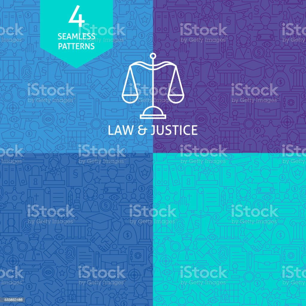 Thin Line Art Law Justice and Crime Pattern Set vector art illustration